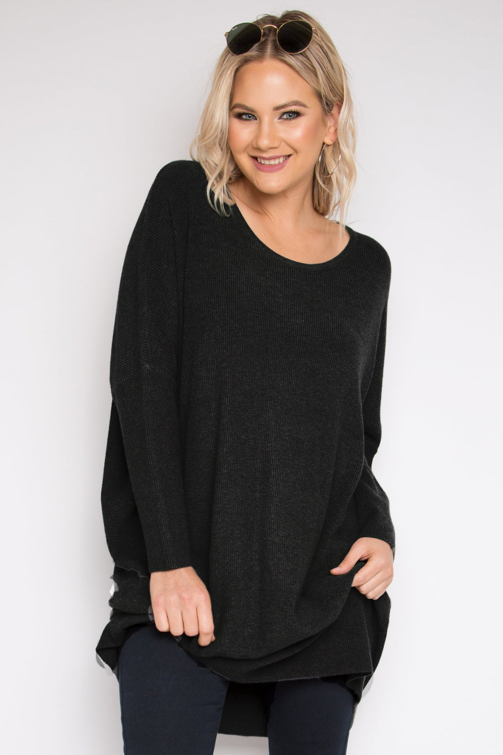 Lounge Tunic Top in Black