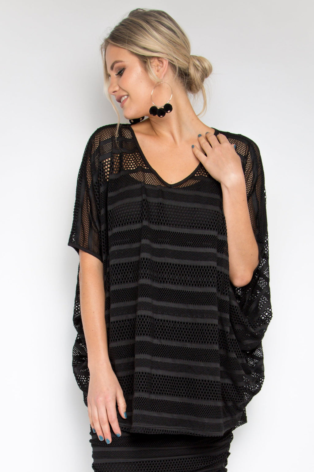 Mesh Hi Low Miracle Top in Black Stripe