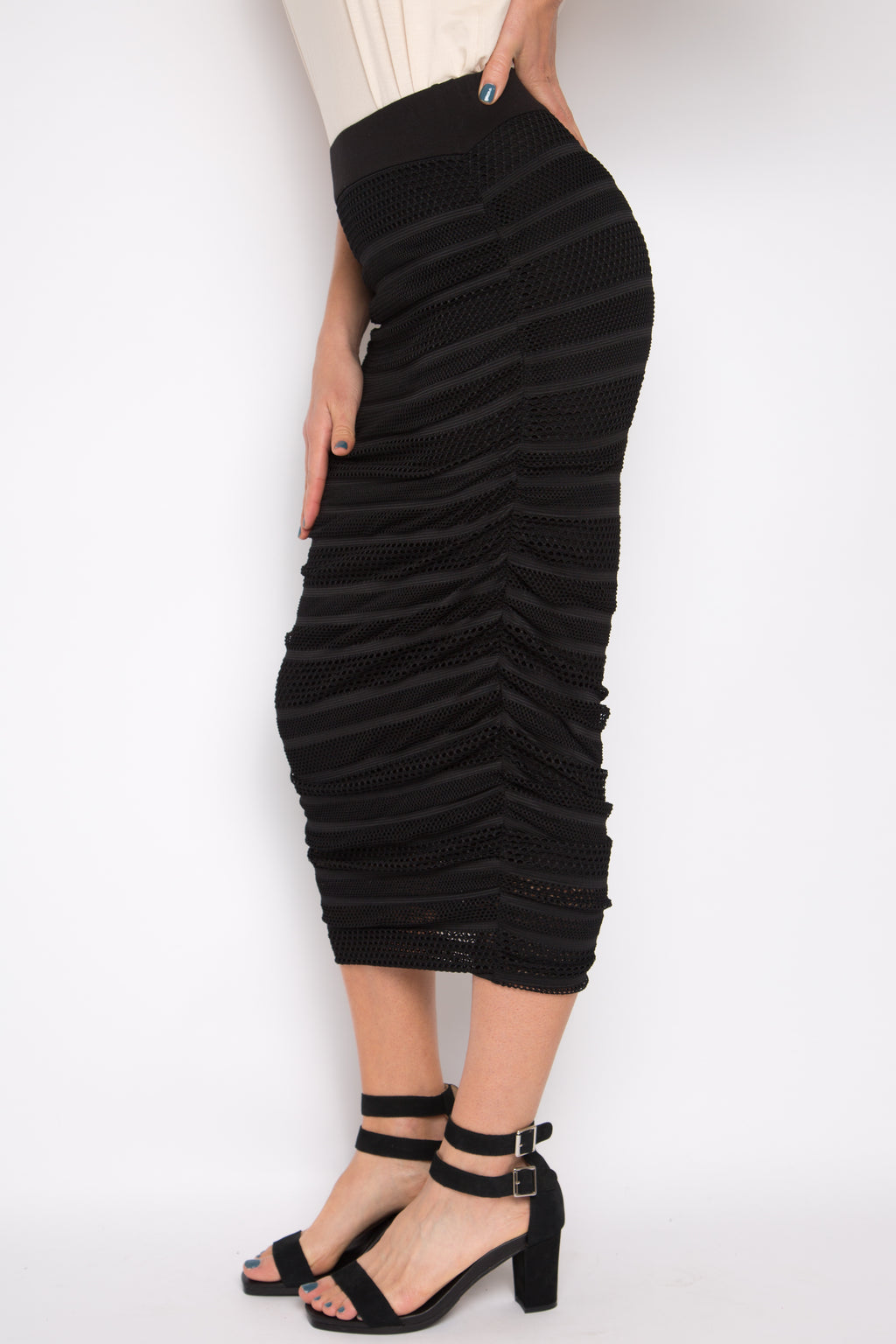 Mesh Midi Ruche Skirt in Black Stripe