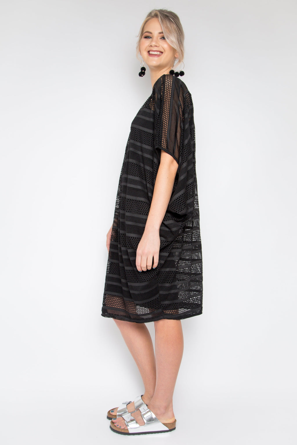 Mesh Miracle Dress in Black Stripe