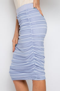 Mesh Ruche Skirt in Lilac Stripe