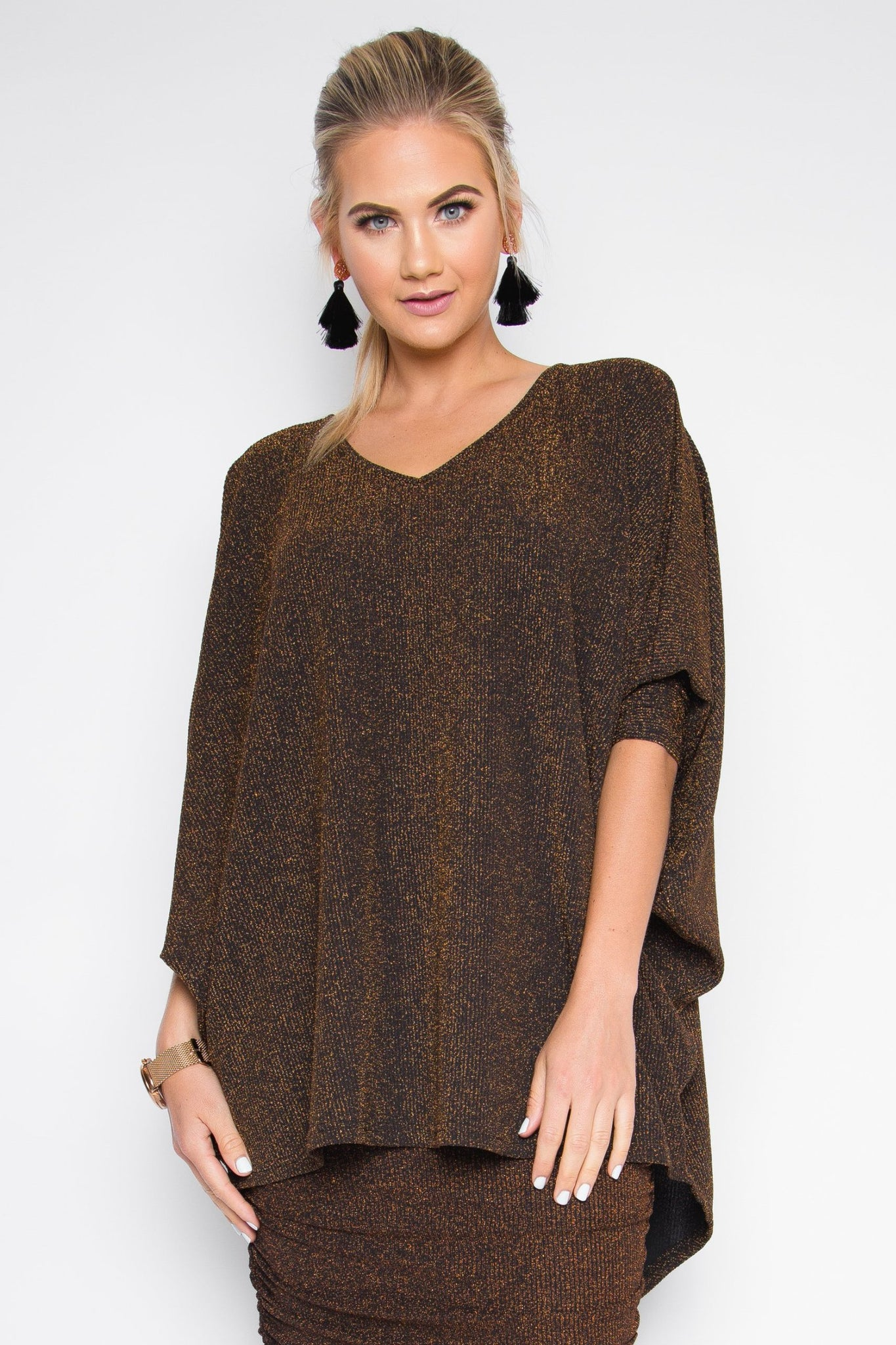 Metallic Long Sleeve Hi-Low Miracle Top in Copper Sparkle