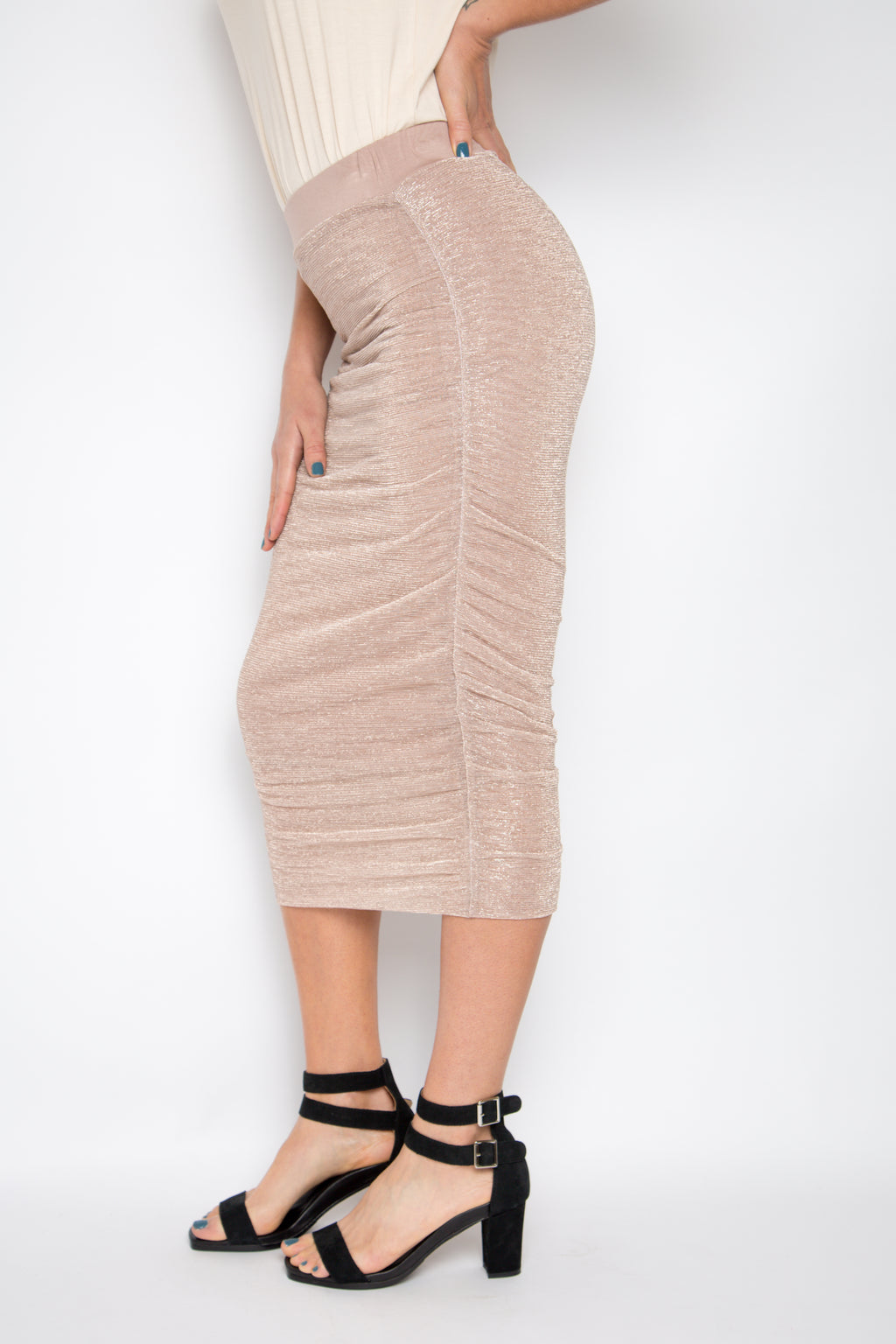 Midi Ruche Skirt in Mauve Mist