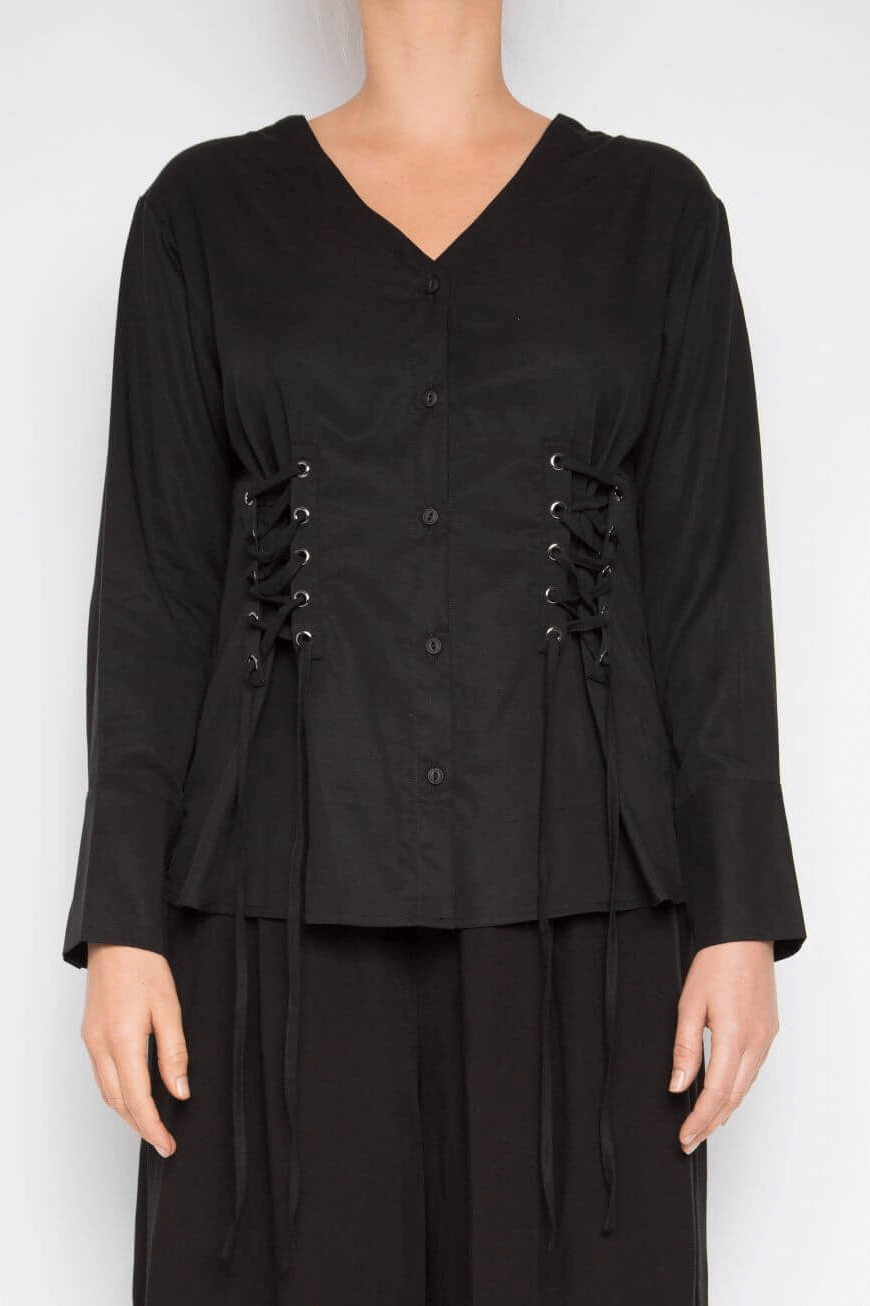 Black top with tie up detail on front