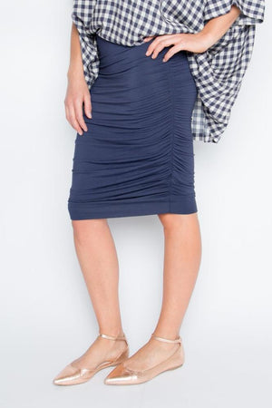 Bamboo Ruche Skirt in Navy
