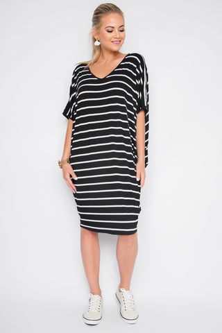 Original Miracle Dress in Black and White Stripe