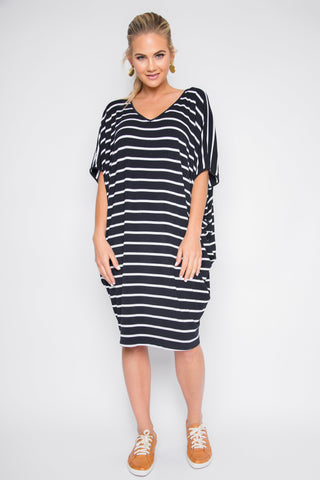 Original Miracle Dress in Navy & White Stripe