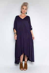 Peak Front Maxi Dress in Navy