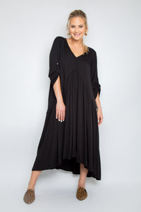 Peak Front Maxi Dress in Black