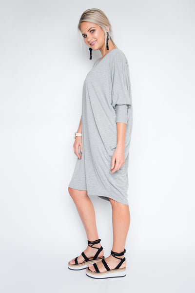 Long Sleeve Miracle Dress in Grey Marle