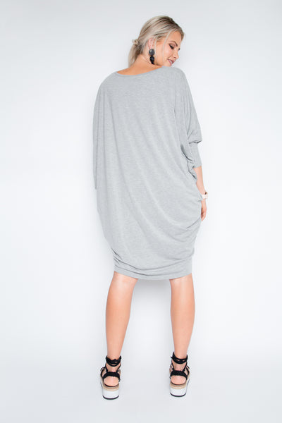 Bamboo Long Sleeve Miracle Dress in Marle Grey