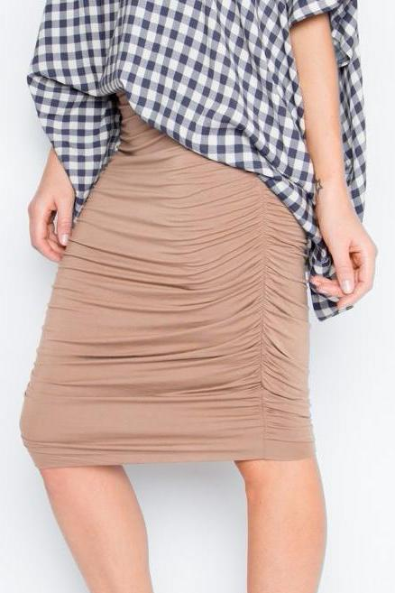 Bamboo Ruche Skirt in Truffle