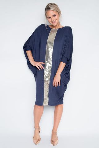 Sequinned Bamboo Original Miracle Dress in Navy
