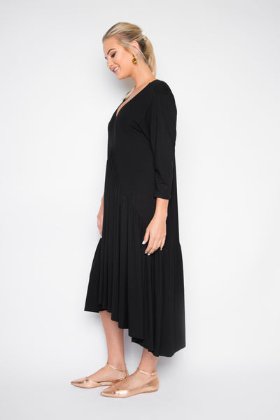 PREMIUM BAMBOO Peak Midi Jersey Dress in Black