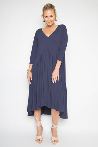 PREMIUM BAMBOO Peak Midi Jersey Dress in Navy