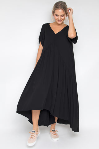Short Sleeve Peak Front Maxi in Black