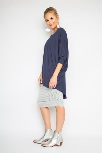 Bamboo Long Sleeve Hi-Low Miracle Top in Navy