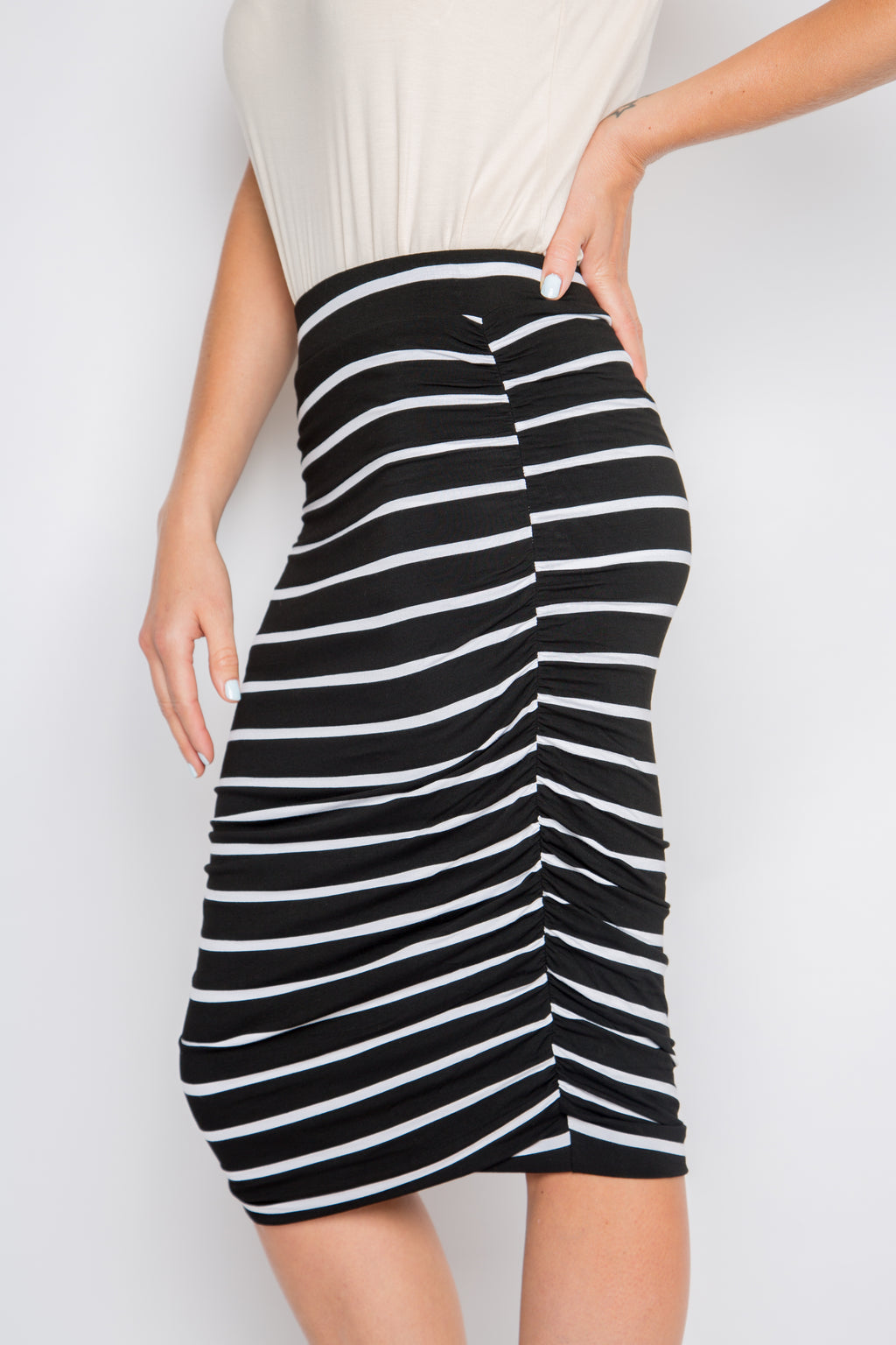 Ruche Skirt in Black and White Stripe
