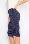 Ruche Skirt in Navy/White Pinstripe