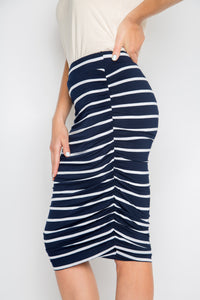 Ruche Skirt in Navy and White Stripe (inc. CURVE)