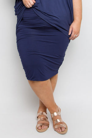 Curve Bamboo Ruche Skirt in Navy