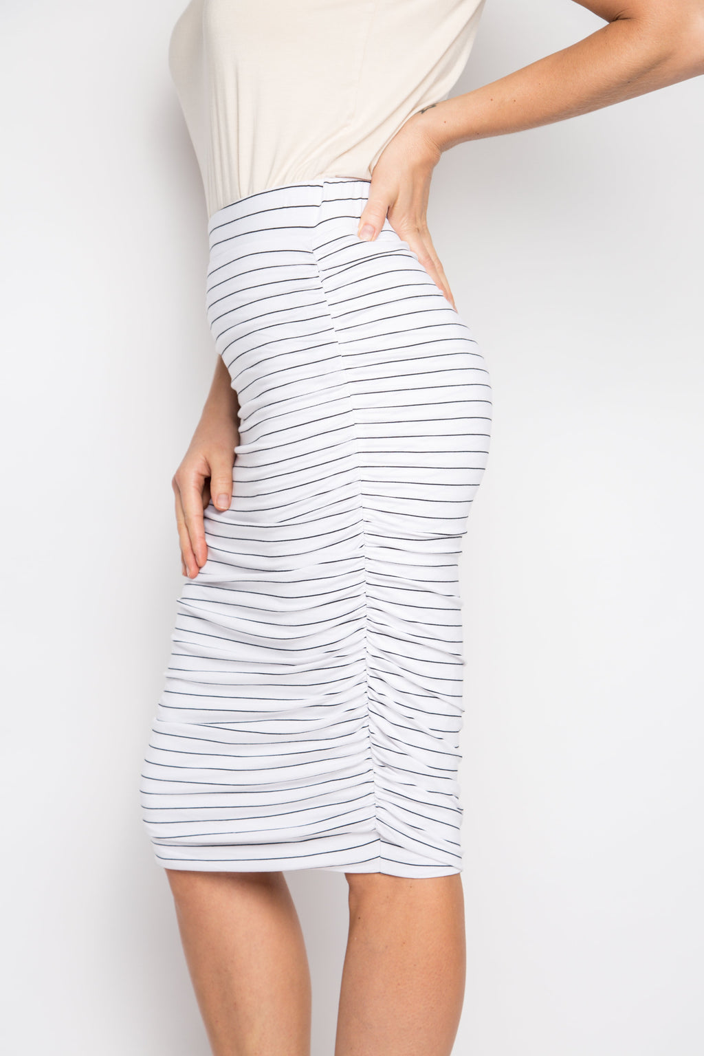 Ruche Skirt in White/Black Pinstripe