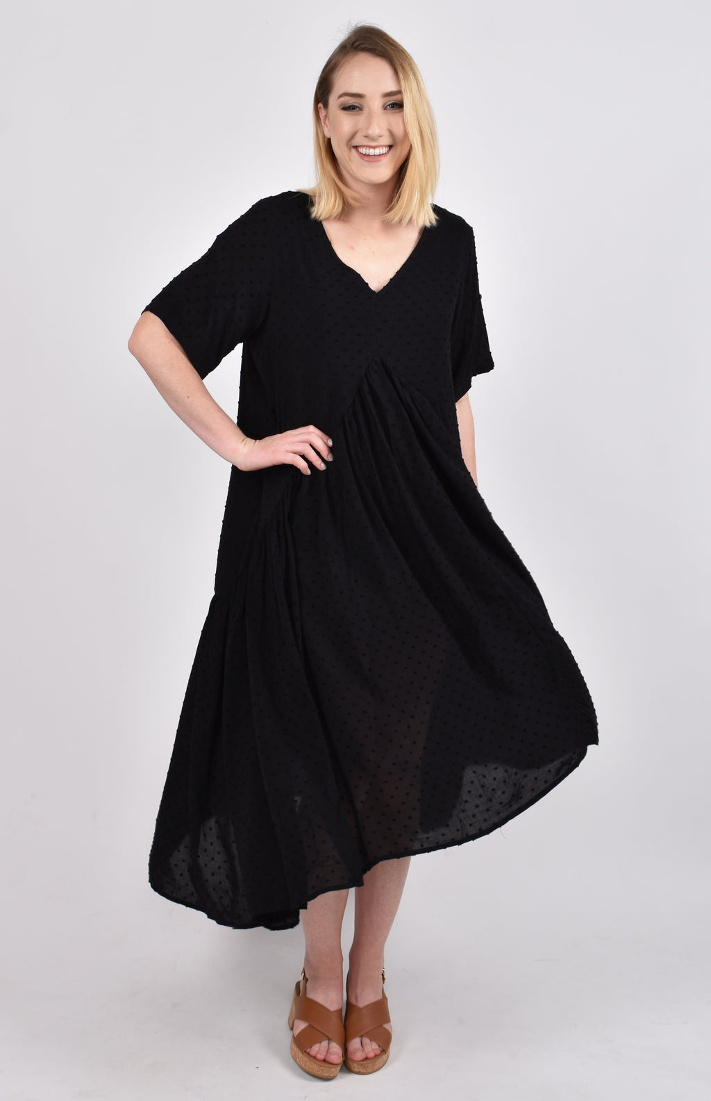 Short Sleeve Peak Maxi Dress in Black Dot