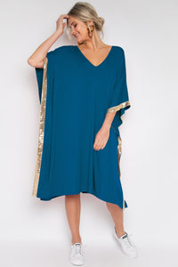 Sequinned Kafdress in Teal (bamboo)