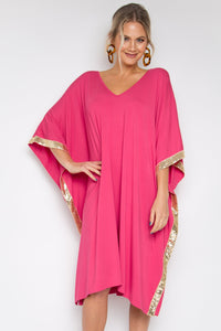 Sequinned Kafdress in Guava (bamboo)