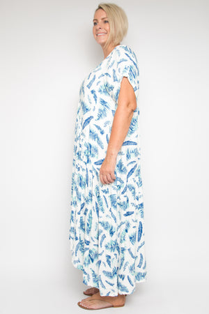 Short Sleeve Peak Maxi Dress in Garden Palm