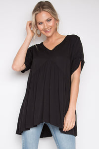 Short Sleeve Peak Top in Black