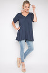 Short Sleeve Peak Top in Navy