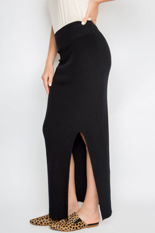 Split Maxi Knit Skirt in Black