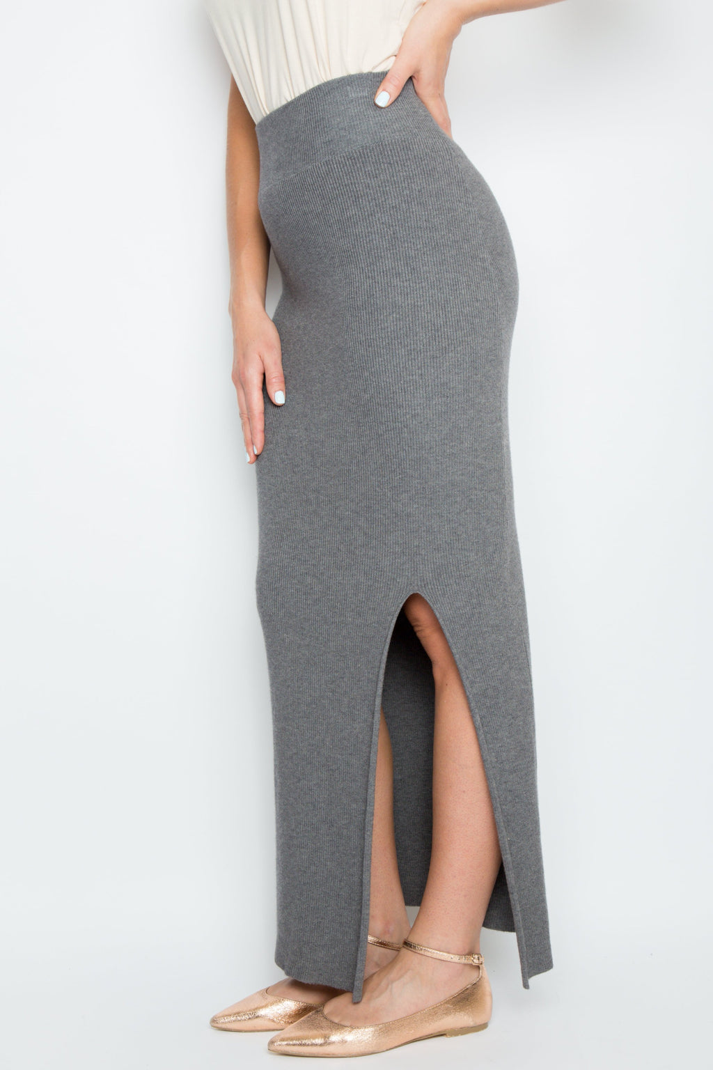 Split Maxi Knit Skirt in Charcoal