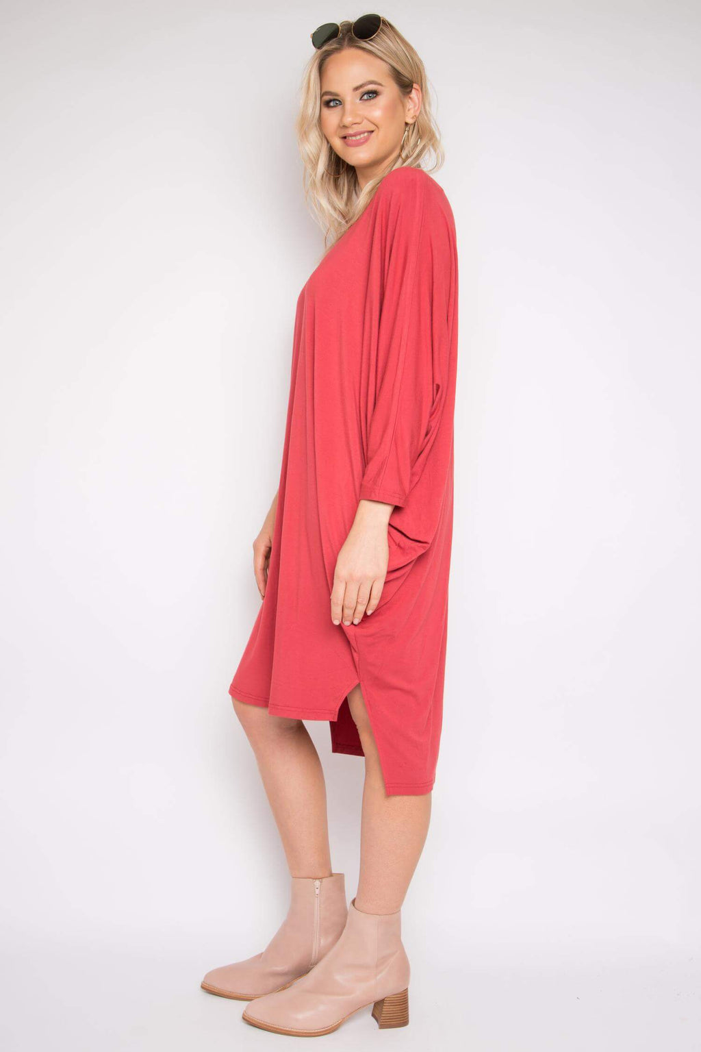 Bamboo Step Up Long Sleeve Miracle Dress in Rhubarb