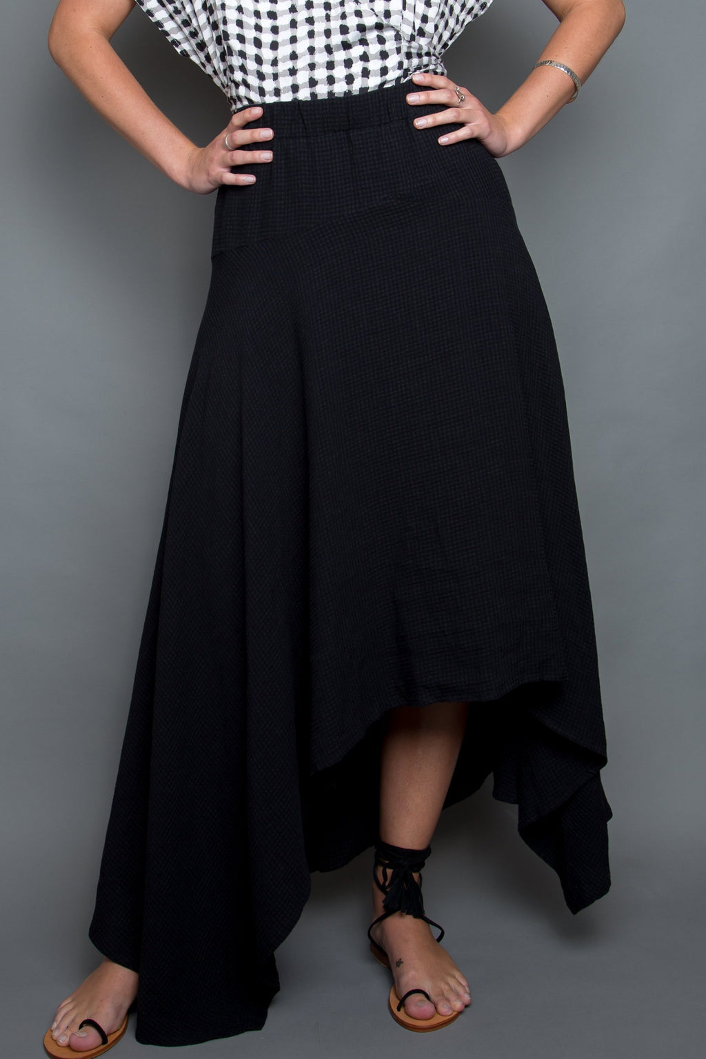 On Time Skirt in Black Gardenia