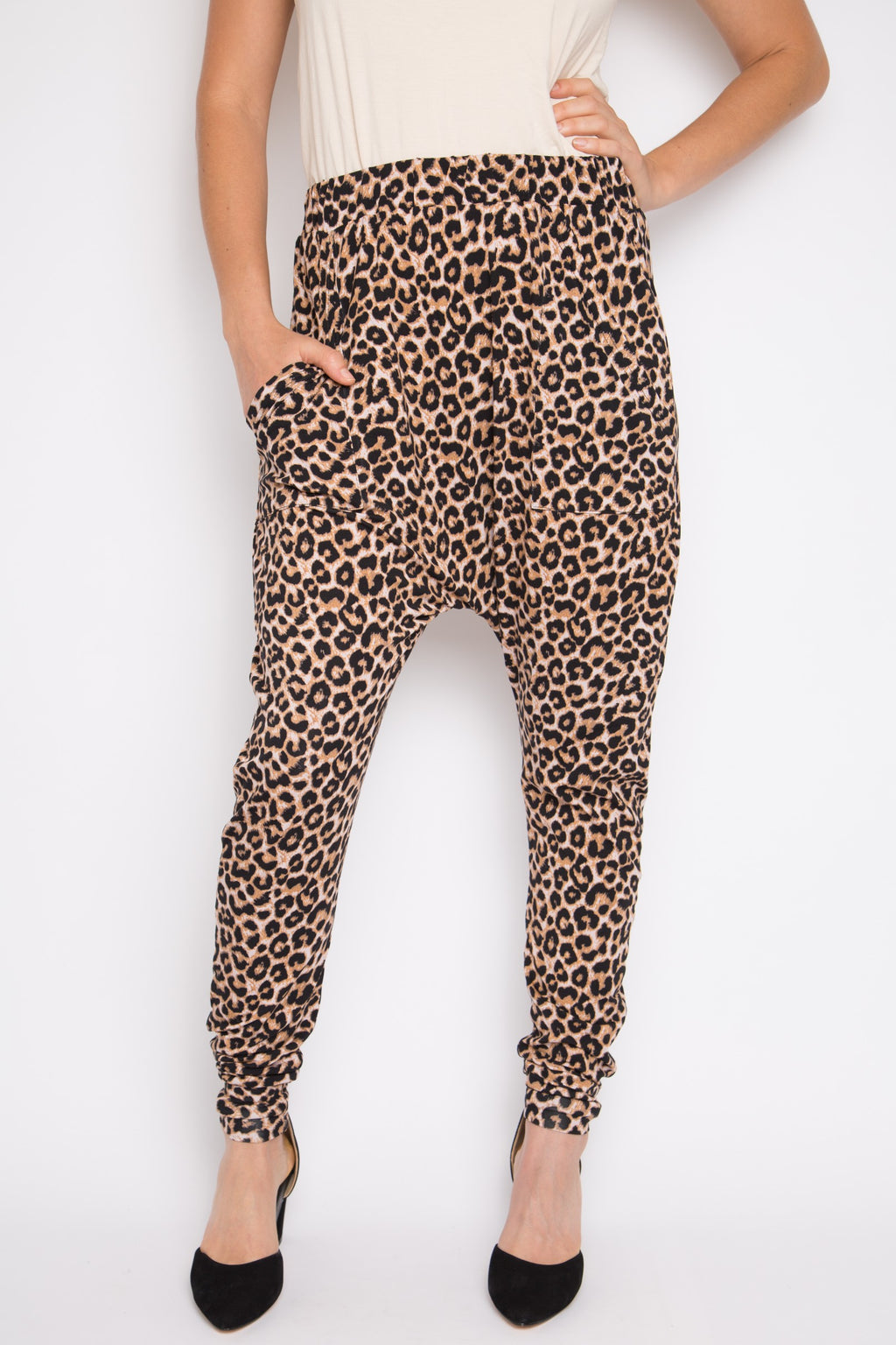 Cuffed Droppy Pant in Ginger Leopard
