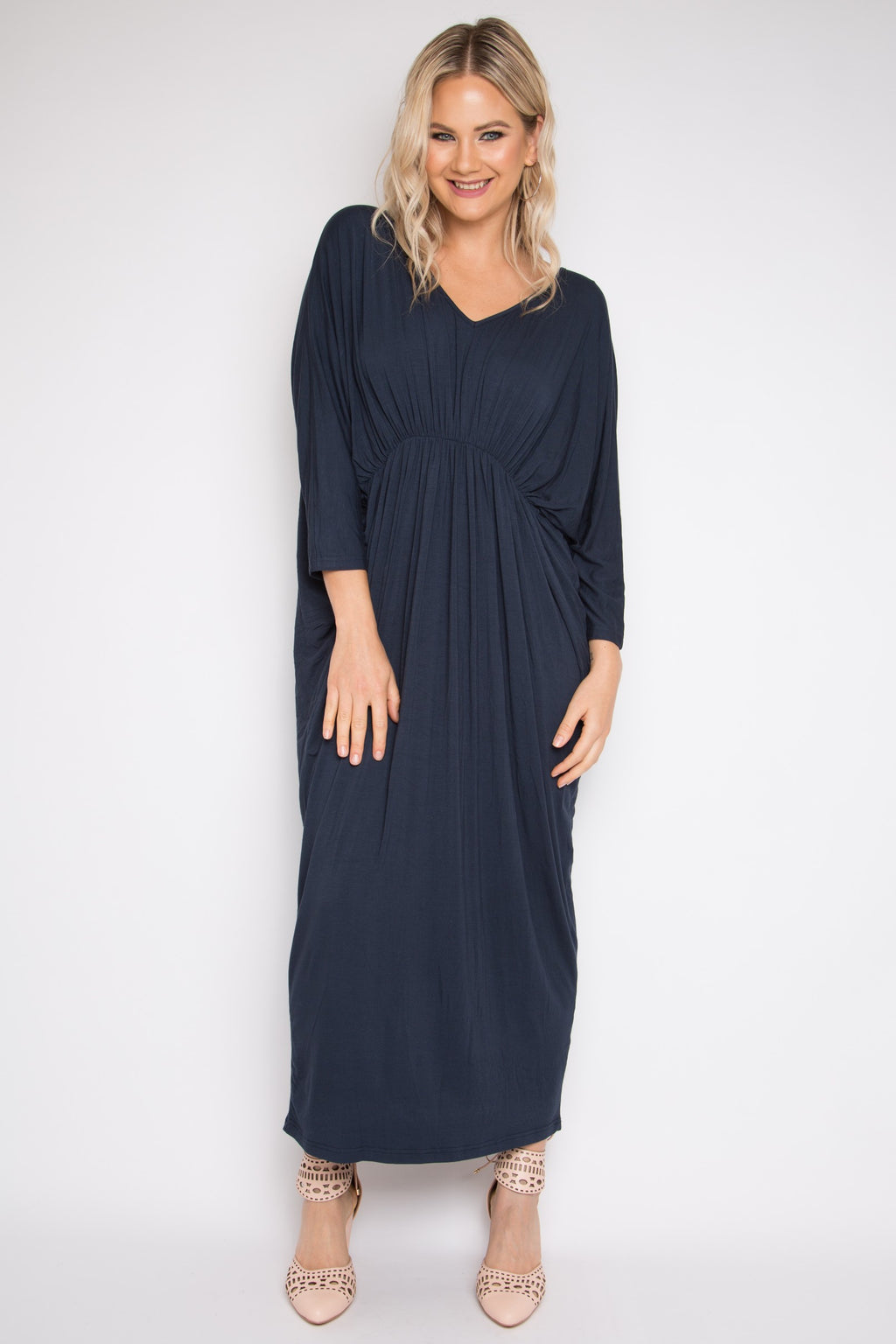 Bamboo Gathered Long Sleeve Maxi Miracle Dress in Midnight