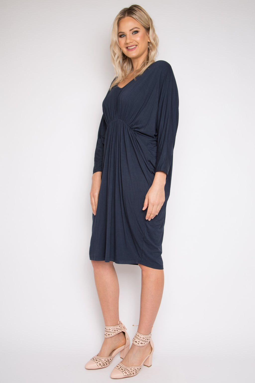 Bamboo Gathered Long Sleeve Miracle Dress in Midnight