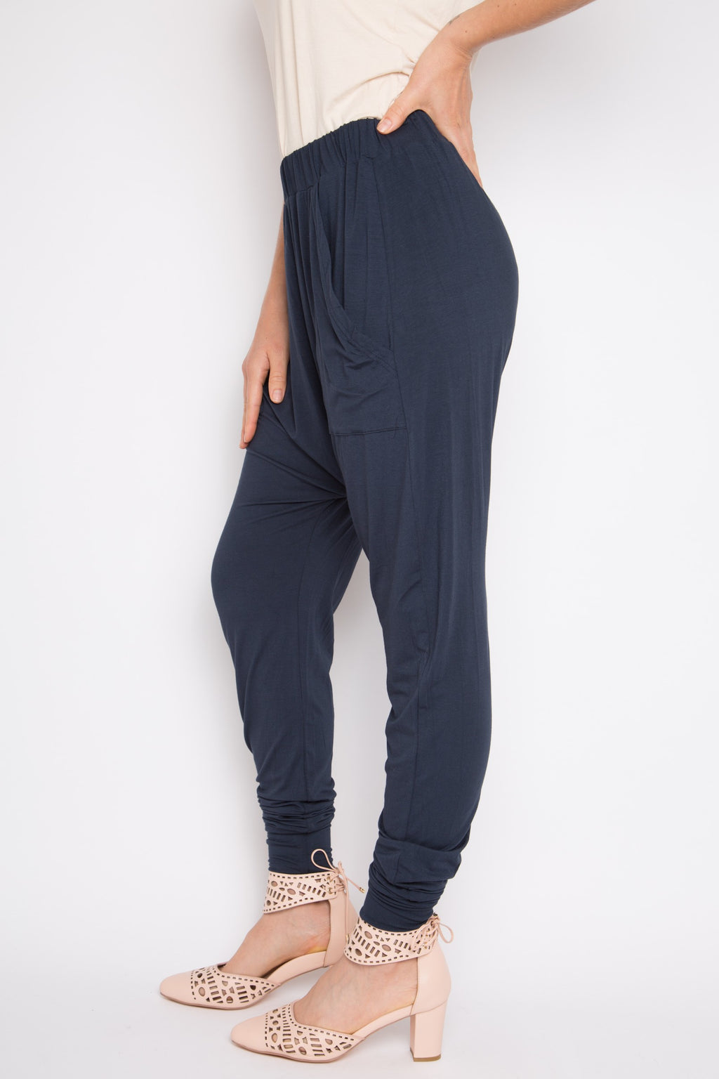 Bamboo Cuffed Droppy Pant in Midnight