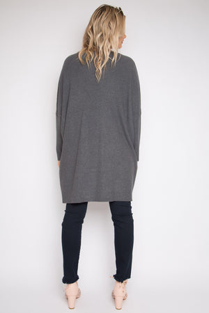 Lounge Tunic Top in Charcoal