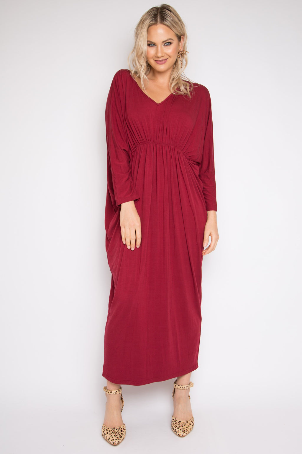 Bamboo Gathered Long Sleeve Maxi Miracle Dress in Black Cherry