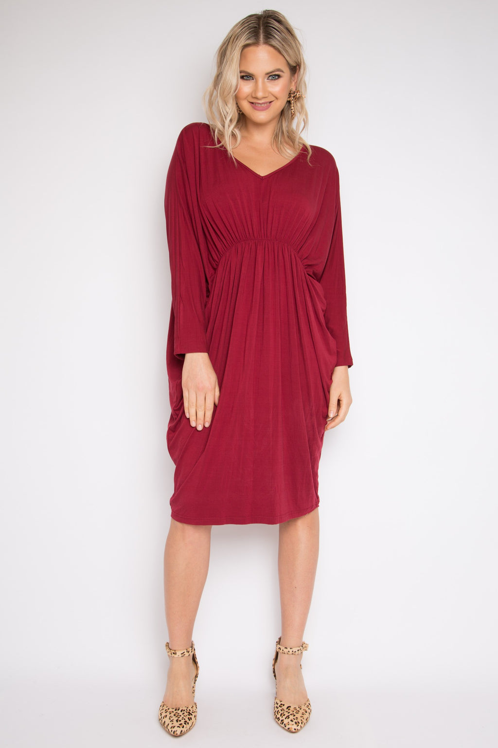 Bamboo Gathered Long Sleeve Miracle Dress in Black Cherry