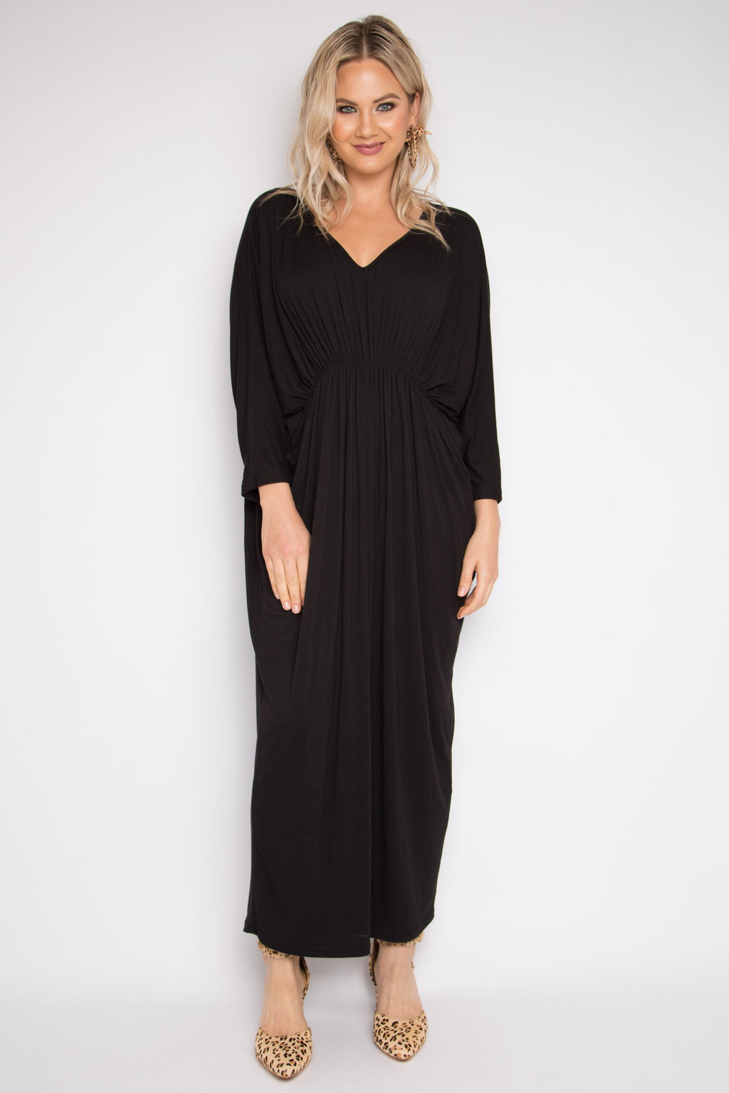 Bamboo Gathered Long Sleeve Maxi Miracle Dress in Black