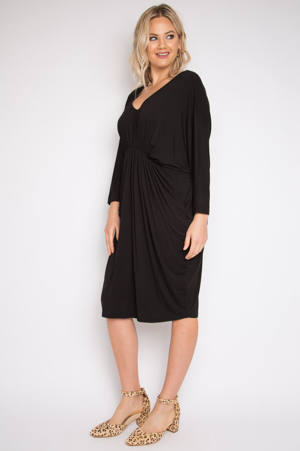 Bamboo Gathered Long Sleeve Miracle Dress in Black