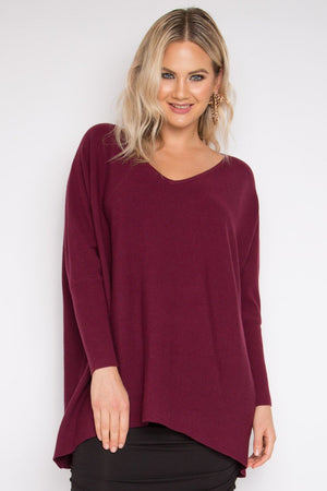 Everyday Knit Top in Black Cherry