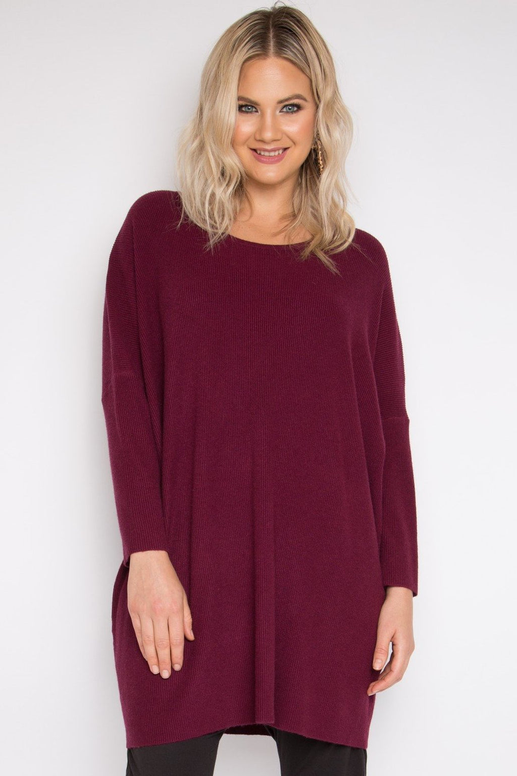 Lounge Tunic Top in Black Cherry