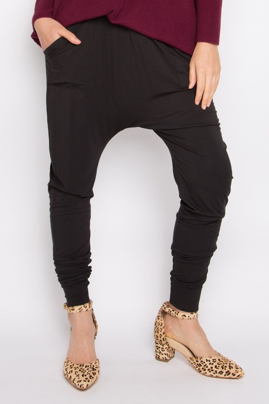 Bamboo Cuffed Droppy Pant in Black