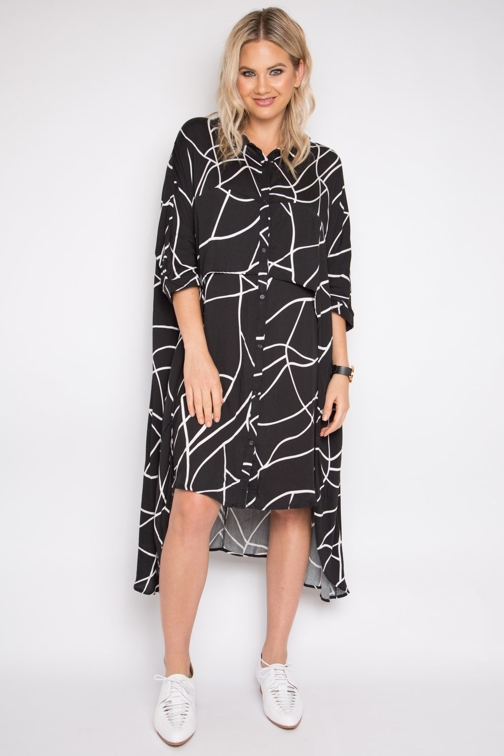 Cascade Shirt Dress in Marble Malt