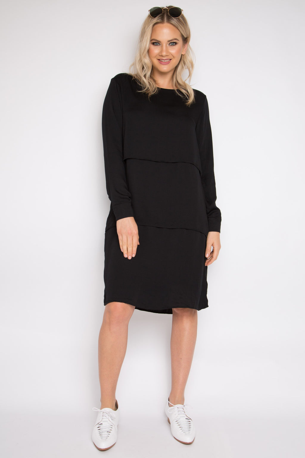 Long Sleeve Layer Dress in Black